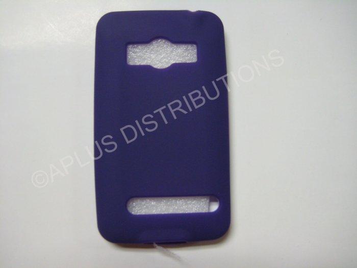 New Purple Solid Color Silicone Skin Case For HTC Evo 4G - (0016)