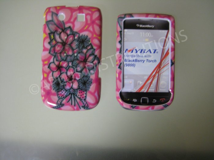 New Pink Multi-Plumeria Design Hard Protective Cover For Blackberry 9800 - (0152)