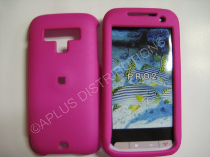 New Hot Pink Rubberized Hard Protective Cover For HTC Touch Pro 2 (CDMA) - (0055)