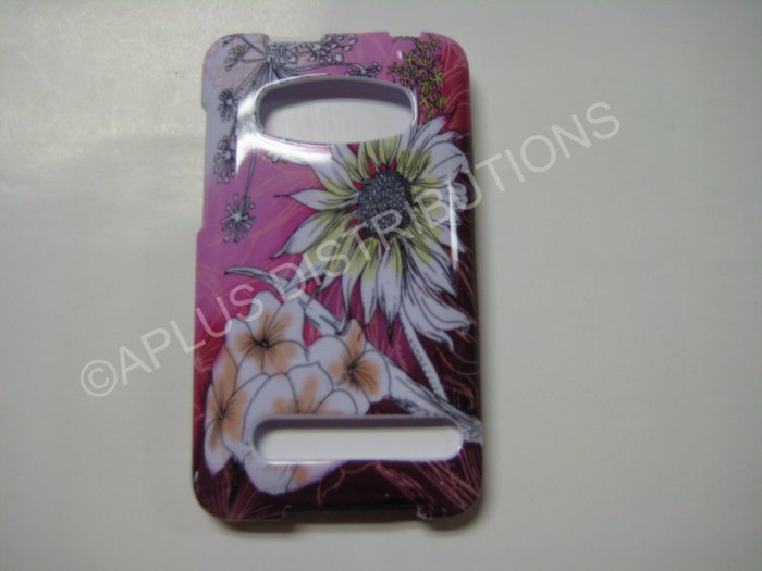 New Pink Sunflower Hard Protective Cover For HTC Evo 4G - (0013)