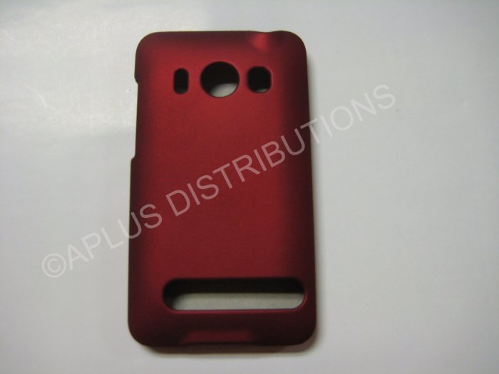 New Red Rubberized Hard Protective Cover For HTC Evo 4G - (0054)