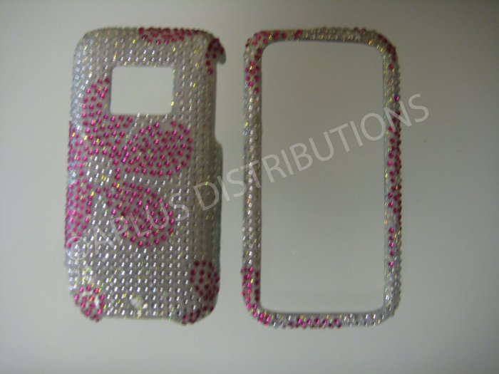 Pink Flower Pattern Bling Diamond Case For HTC Touch Pro 2 (CDMA) - (0022)