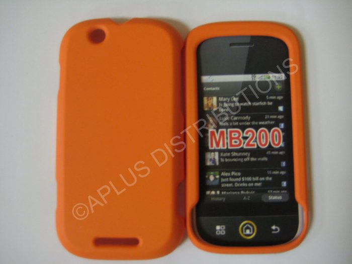 New Orange Rubberized Hard Protective Cover For Motorola Cliq MB200 - (0069)
