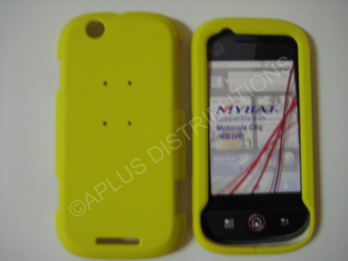 New Yellow Rubberized Hard Protective Cover For Motorola Cliq MB200 - (0068)