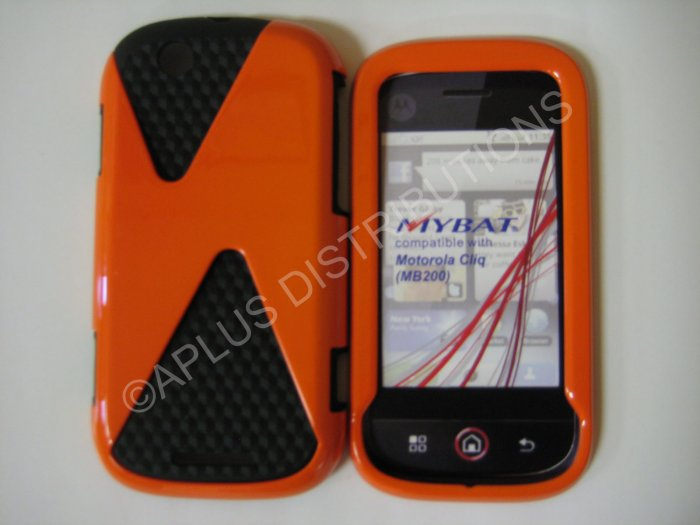 New Orange Hard/Soft Design Hard Protective Cover For Motorola Cliq MB200 - (0025)