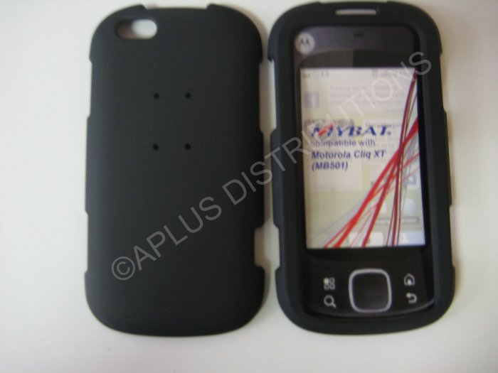 New Black Rubberized Hard Protective Cover For Motorola Cliq XT MB501 - (0051)