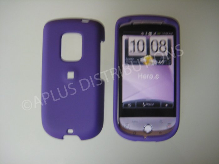 New Purple Rubberized Hard Protective Cover For HTC Hero Cdma - (0057)