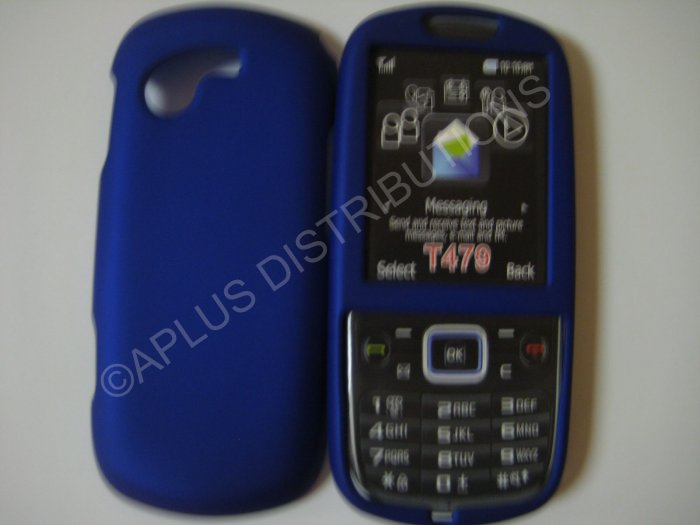 New Blue Rubberized Hard Protective Cover For Samsung Gravity 3 T479 - (0053)
