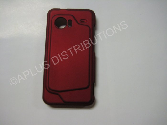 New Red Rubberized Hard Protective Cover For HTC Droid Incredible - (0054)