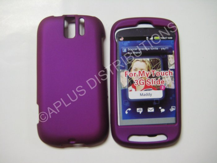 New Purple Rubberized Hard Protective Cover For HTC My Touch Slide 3G - (0057)