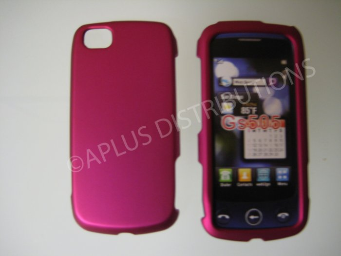New Hot Pink Rubberized Hard Protective Cover For LG Sentio GS505 - (0055)