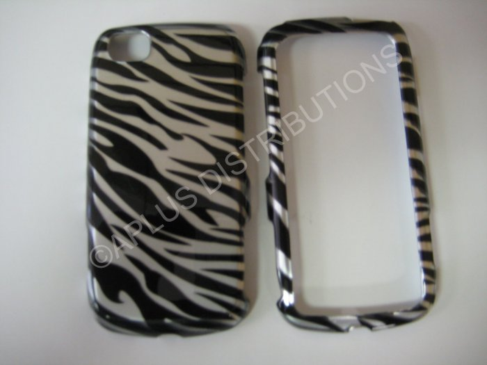 New Black Metallic Zebra Design Hard Protective Cover For LG Sentio GS505 - (0003)