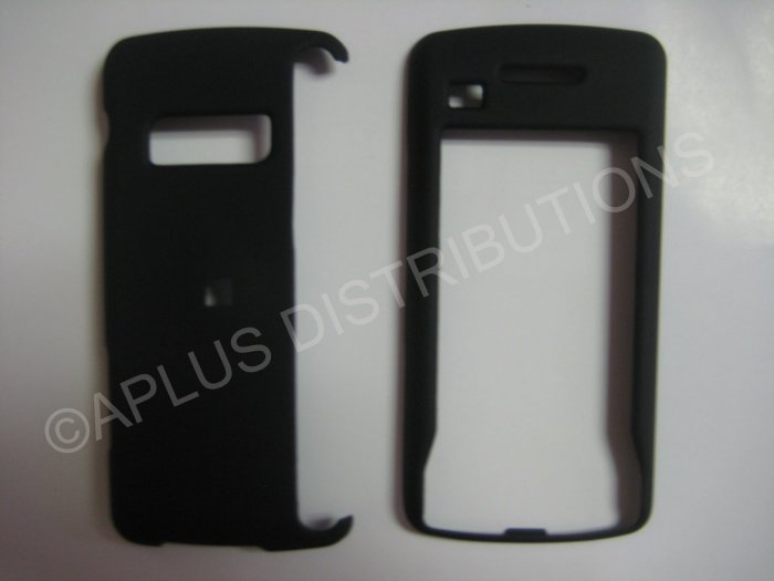 New Black Rubberized Hard Protective Cover For LG Env Touch Lx11000 - (0051)