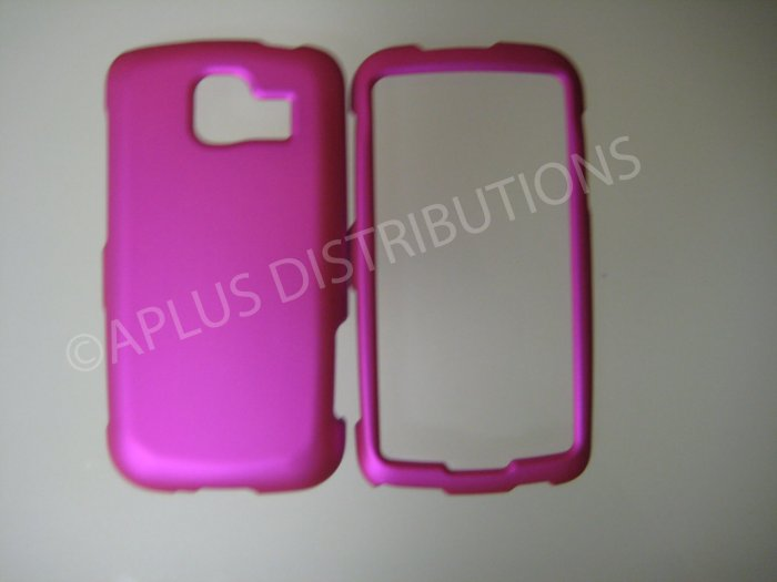 New Hot Pink Rubberized Hard Protective Cover For LG Optimus S LS670 - (0055)