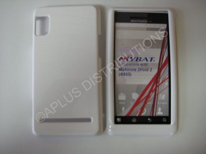 New White Solid Color Hard Protective Cover For Motorola Droid 2 A955 - (0066)