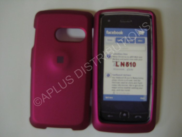 New Hot Pink Rubberized Hard Protective Cover For LG Rumor Touch LN510 - (0055)