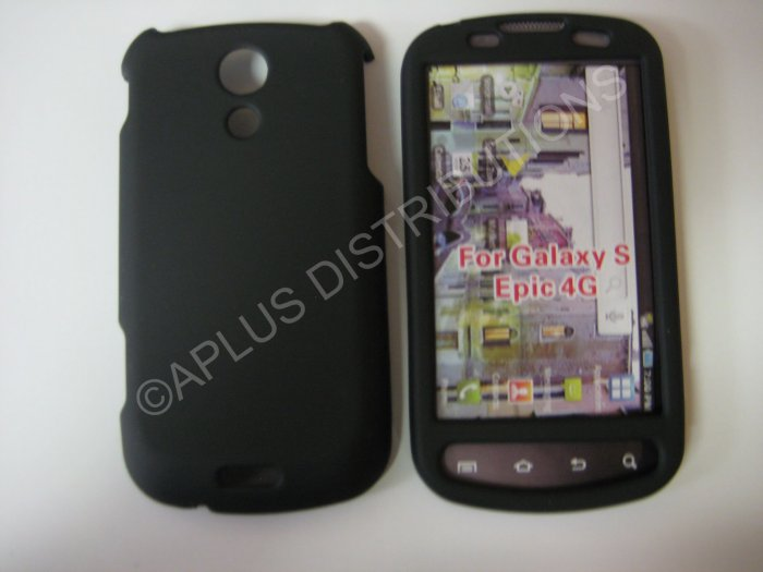 New Black Rubberized Hard Protective Cover For Samsung Epic 4G - (0051)