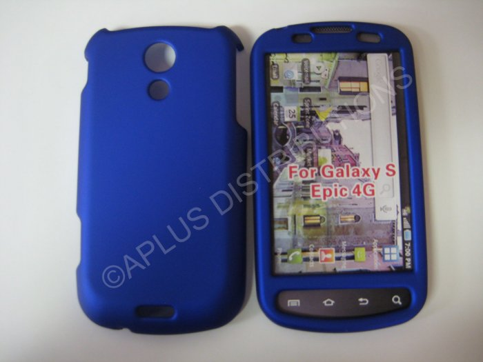 New Blue Rubberized Hard Protective Cover For Samsung Epic 4G - (0053)