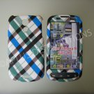 New Blue Rubberized Plaid Pattern Hard Protective Cover For Samsung Epic 4G - (0035)