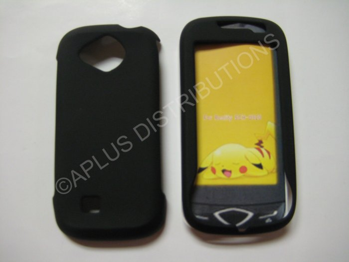 New Black Rubberized Hard Protective Cover For Samsung Reality U820 - (0051)