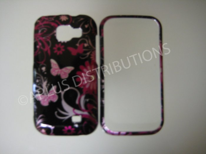 New Pink 3D Butterfly Hard Protective Cover For Samsung Transform M920 - (0012)
