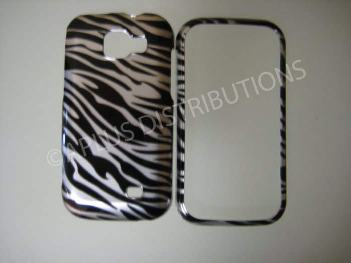 New Black Metallic Zebra Design Hard Protective Cover For Samsung Transform M920 - (0003)