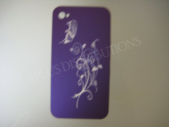 New Purple Butterfly Swirl Design Hard Protective Cover For iPhone 4 - (0089)