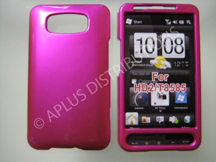 New Hot Pink Solid Color Hard Protective Cover For HTC HD2 - (0063)