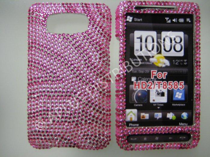 New Hot Pink Zebra Design Bling Diamond Case For HTC HD2 - (0024)