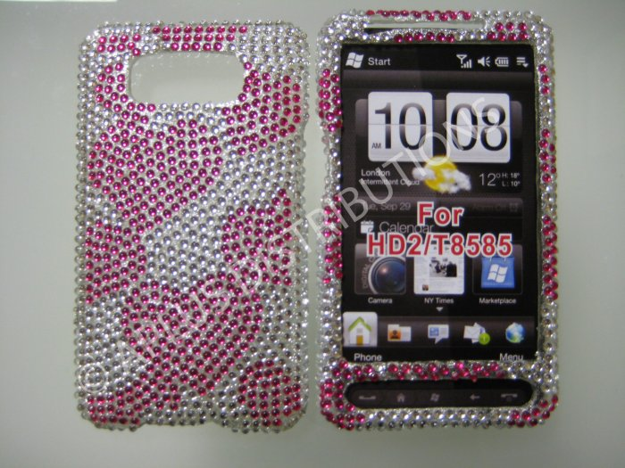 New Hot Pink Hearts Bling Diamond Case For HTC HD2 - (0025)