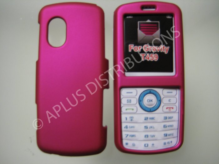 New Hot Pink Rubberized Hard Protective Cover For Samsung Gravity T459 - (0055)