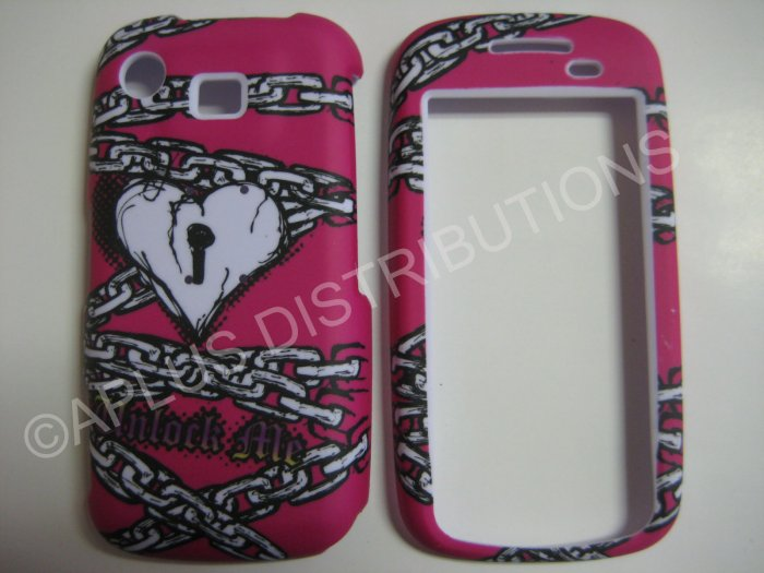 New White Heart With Chain Hard Protective Cover For Samsung Impression A877 - (0020)