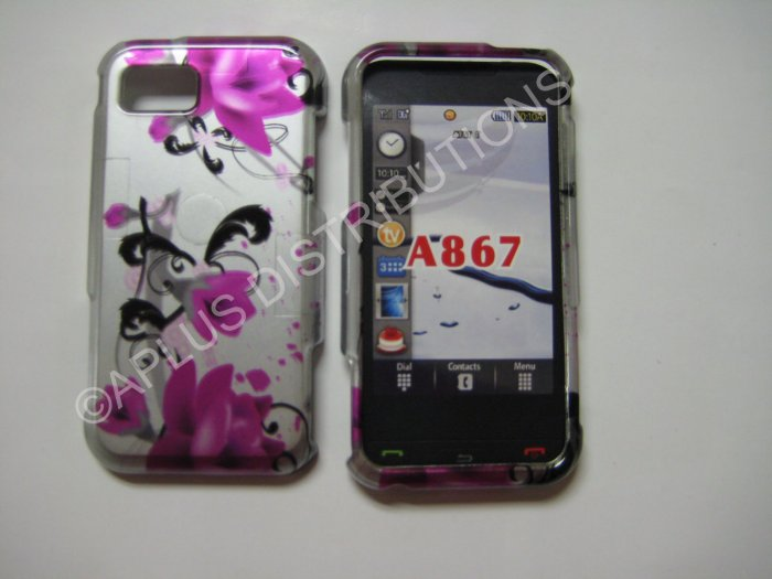 New Pink 3D Flower Hard Protective Cover For Samsung Eternity A867 - (0011)