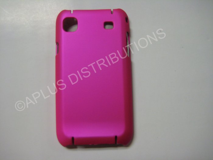 New Hot Pink Rubberized Hard Protective Cover For Samsung Galaxy S I9000 - (0055)