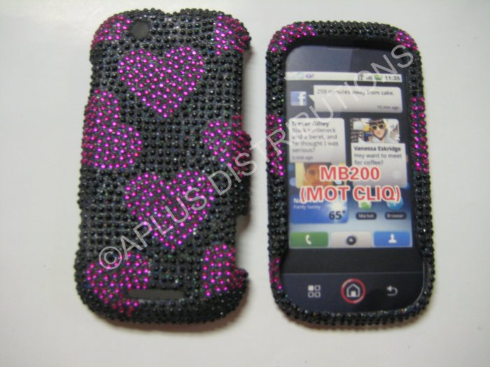 New Pink Multi-Hearts Bling Diamond Case For Motorola Cliq MB200 - (0001)
