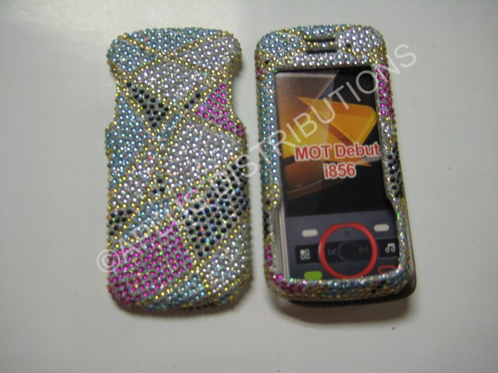 New Multi-Color Abstract Triangle Bling Diamond Case For Motorola Debut I856 - (0008)