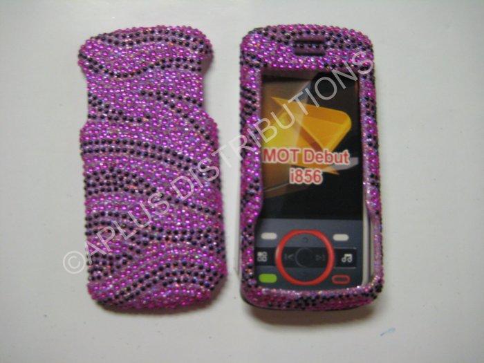 New Hot Pink Zebra Design Bling Diamond Case For Motorola Debut I856 - (0003)