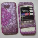 New Hot Pink Half Flower Bling Diamond Case For HTC G1 Dream - (0002)