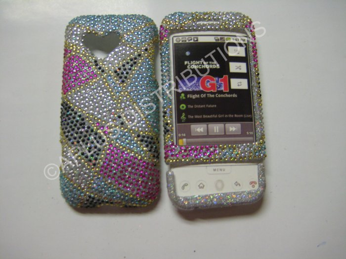 New Multi-Color Abstract Triangle Bling Diamond Case For HTC G1 Dream - (0008)