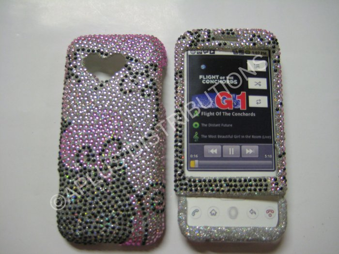 New Black Swirlz Design Bling Diamond Case For HTC G1 Dream - (0007)