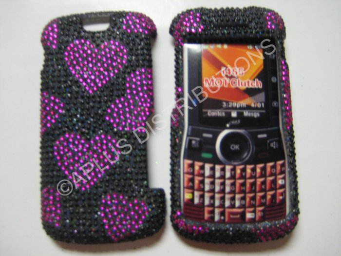 New Pink Heart Series Bling Diamond Case For Motorola Clutch I465 - (0001)