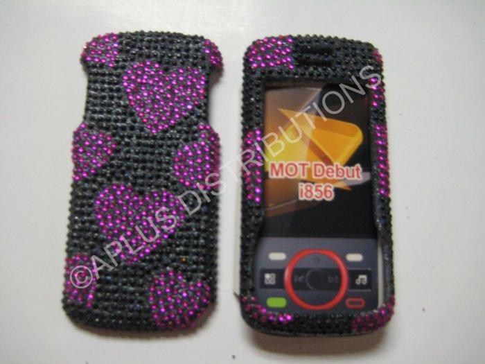 New Pink Heart Series Bling Diamond Case For Motorola Debut I856 - (0001)