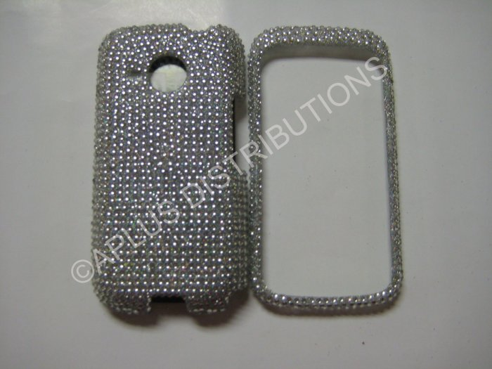 New Silver Solid Crystal Bling Diamond Case For HTC Droid Eris 6200 - (0004)