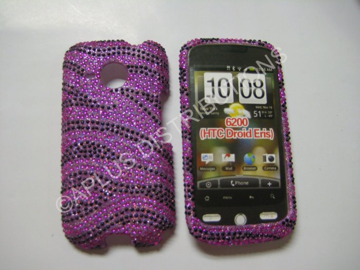 New Hot Pink Zebra Design Bling Diamond Case For HTC Droid Eris 6200 - (0003)