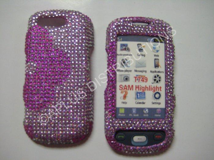 New Hot Pink Half Flower Bling Diamond Case For Samsung Highlight T749 - (0002)
