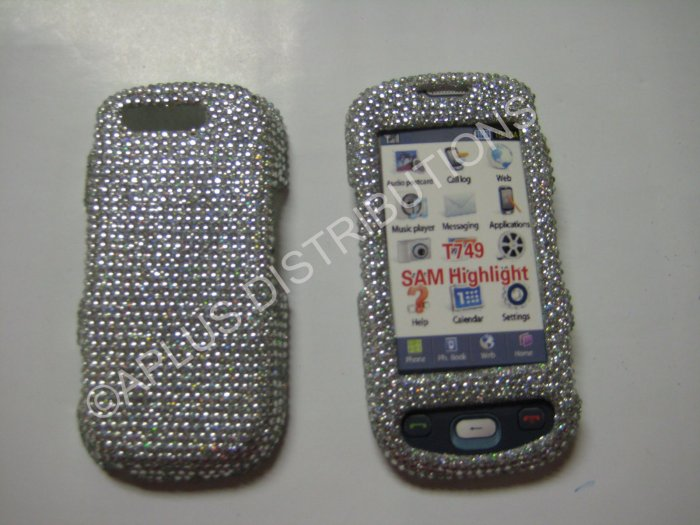New Silver Solid Design Bling Diamond Case For Samsung Highlight T749 - (0004)