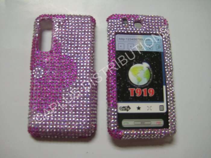 New Hot Pink Half Flower Bling Diamond Case For Samsung Behold T919 - (0002)