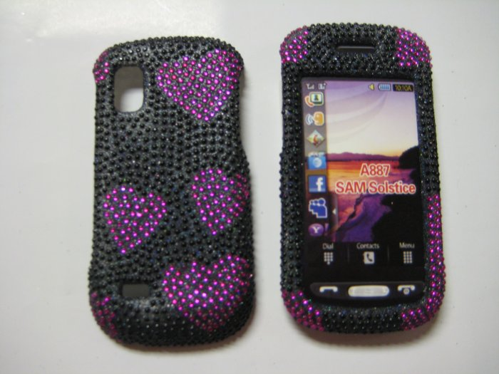 New Pink Heart Series Bling Diamond Case For Samsung Solstice A887 - (0001)