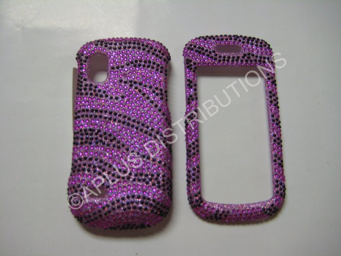 New Hot Pink Zebra Design Bling Diamond Case For Samsung Solstice A887 - (0003)