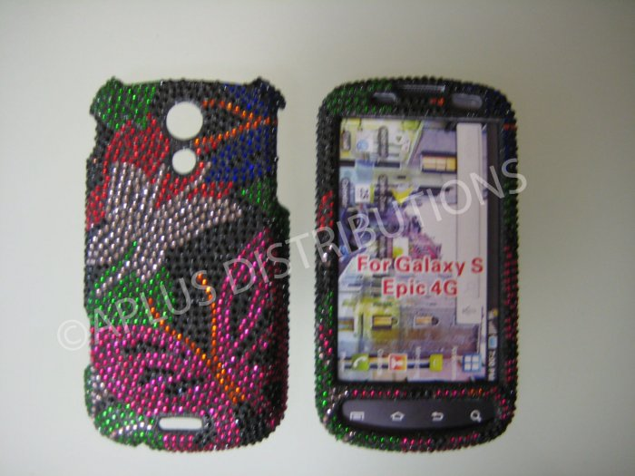 New Black 3D Butterfly Bling Diamond Case For Samsung Epic 4G - (0021)
